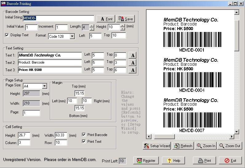 MemDB Barcode Printing System - Print Code 128, 39, 93, 25 barcode labels.