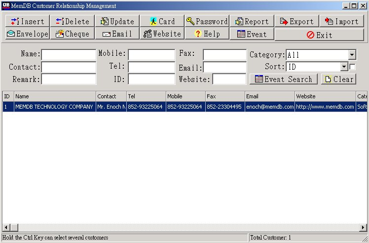 Click to view MemDB Customer Relationship Management 1.0 screenshot